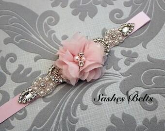 Light Pink Flower Girl Belt, Blush Pink  Flower Sash Belt, Wedding Belt, Pink Belt Sash, bridesmaid belt, dress belt