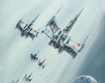 Gray X-Wing Fighters, Star Wars Painting, Star Wars Wall Art, Star Wars Gift, Star Wars Gray Painting, Star Wars Home Decor