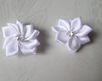 x 2 with Rhinestones 33 mm white satin ribbon flower embellishments