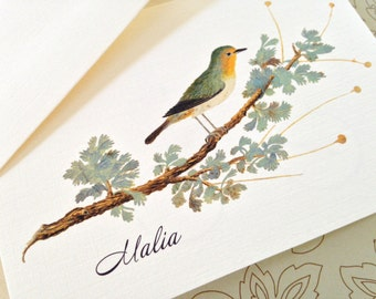 Greeting Cards, Note Cards, Stationery, Card Set, Personalized Card, Vintage Card, Bird Card, Set of 8