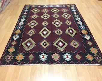 kilim rug, kilim rug, turkish rug, turkish kilim rug, kilim rug, kilim rug, 105x78inch, 268x197cm, Brown kilim rug