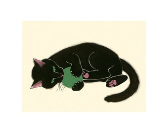 """Black Cat Art print - Black Cat - Claws and Effect - 8.3"""" X 5.8"""" - 4 for 3 SALE"""
