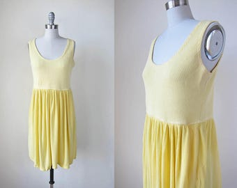 1990s vintage yellow sleeveless stretch pocket dress cover up s m