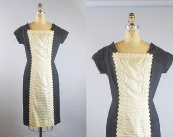 50s Black Linen and Lace Dress  / 1950s Dress / Black Dress