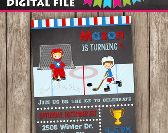 Hockey Birthday Invitation, Hockey Invitation