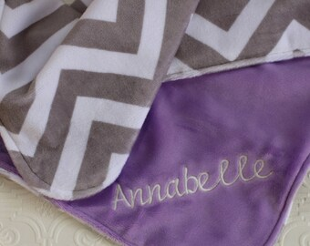 Baby Girl Blanket Personalized, Baby Blanket with Name, Chevron Baby Blanket, Personalized Chevron Baby Blanket , Personalized Minky Blanket