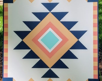 Barn Quilt - Wood, Custom Handmade, 3' x 3' - Aztec
