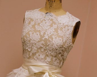 Lace Bridal Top -Custom Wrap Style with Nude Lining and Attached Sash