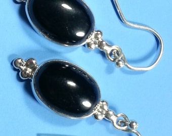 Classic Black Onyx Earrings in Sterling Silver Settings