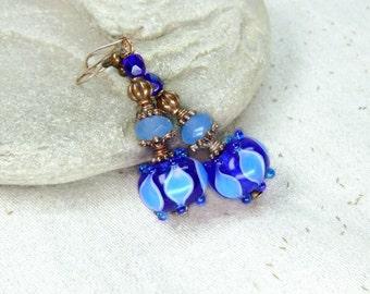 Copper Blue Earrings with lampwork beads Dangle earrings Wedding jewelry