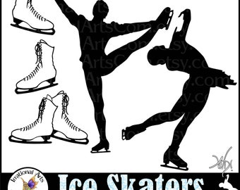 INSTANT DOWNLOAD VINyL READY Vector images Ice Skaters set  Male and Female skaters as well as 3 files ice skates Clip Art digital graphics