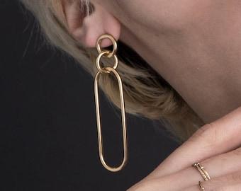Long Link Earrings / 14k gold vermeil / modern minimalist statement earrings