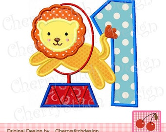 """Lion Circus Lion number 1 Birthday Machine Embroidery Applique Embroidery Design BIR0001 -for 4x4 5x5 6x6"""""""