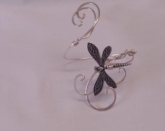 Silver Dragonfly ARM CUFF wrap Elven faery band