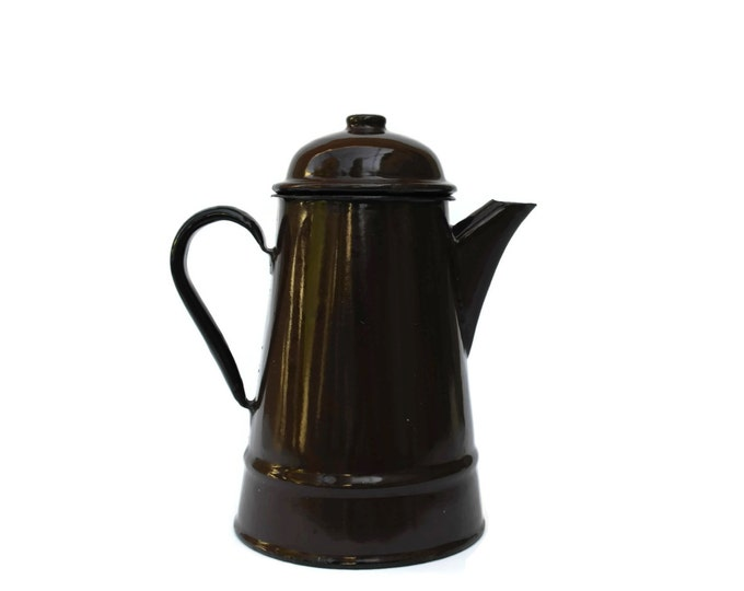 Vintage Enamel Coffee Pot. French Country Kitchen Decor. Chocolate Brown Coffee Maker. Rustic Kitchen. French Coffee Biggin.
