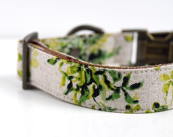 Cotton Linen Botanical Green Leaves Dog Collar - Beige, Green - Antique Brass
