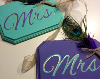 Peacock Wedding Mr and Mrs Wood Signs, Mr and Mr Wood Signs, Mrs and Mrs Wood Sign, Mr and Mrs Chair Hanger Wedding Sign
