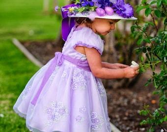 Tea Party Hat - Flower Girl Hat  -  Girls Sun Hat - Girls Flower girl hat - Wedding party