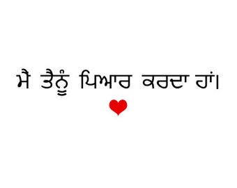 I love you in Punjabi - Card for her or him - Gift for a boyfriend, husband, girlfriend or wife or anyone you love.