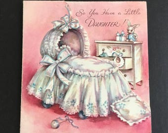 Vintage Baby congratulations greeting e, bassinet, toys, pink, Rust Craft