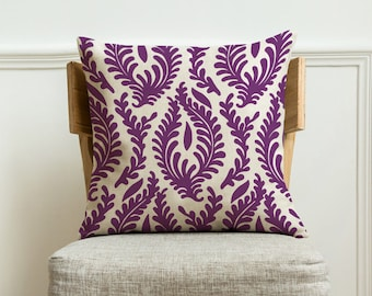 Purple floral decorative pillow cover,Handmade home throw pillow case with Zipper.Canvas cushion pillow covers decoration for sofa 18x18 in