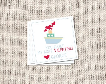 """Boat Valentine's Day Cards Digital or Printed - 3"""" Square"""