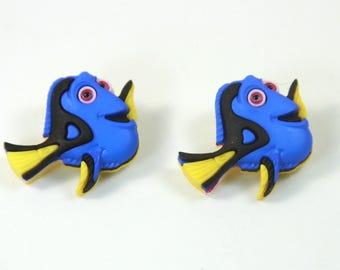 Dory earrings, Fish earrings, Blue fish earrings, Fun fish earrings, Finding nemo earrings