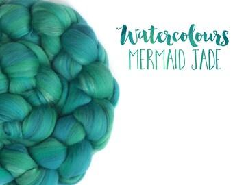 Blended top - roving - Merino wool - Mulberry silk - 100g - 3.5oz - Watercolour blends - MERMAID JADE