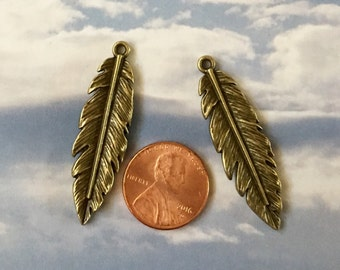 Feather Antiqued Gold Pewter Charms (Two Pieces)