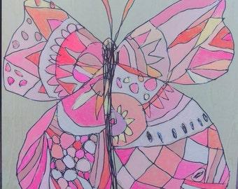 Butterfly Jennifer Mercede painting 6x6in 'Salmon Sweet'
