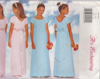 Flower Dress Pattern Long Formal  Girl's Size 12 - 14 Uncut Butterick 4839