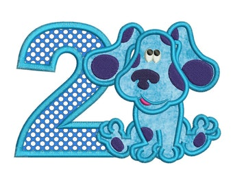 Blues Clues 2nd Birthday Full Applique Design 3 sizes Instant Download