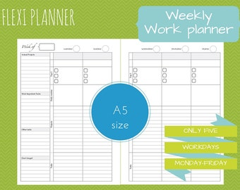 Flexi planner - A5 size filofax inserts - Work planner - Weekly planner - downloadable