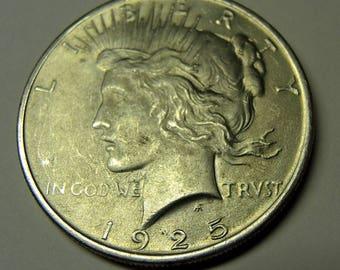 Vintage 1925 Peace Dollar, Silver Coins, USA Coins, Collectable Coins, FREE USA 32.00Shipping