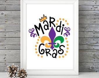 Mardi Gras Print with Fleur de lis  - Mardi Gras print - Great gift idea - home decor - Fat Tuesday Print - NOLA - New Orleans print
