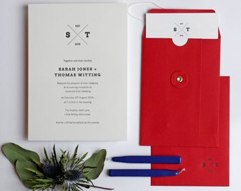 Emblem Letterpress Wedding Invitation Sample