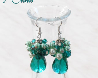 Beaded cluster earrings and drop faceted, handmade