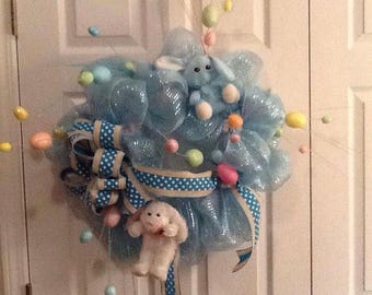 Blue Easter Bunny Wreath