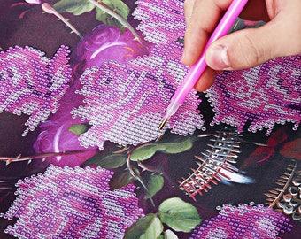 Rose Vase  Diamond Cross Stitch DIY Kit Rhinestone Mosaic Canvas Painting Home Wall Decor 40 x 48cm
