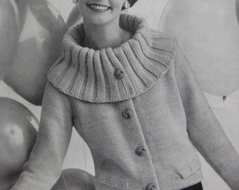 1960's Vintage Knitting PDF Pattern Women's Jacket pdf file 736-21