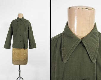 Vintage US Army Women's Fatigue Shirt HBT Green Fatigues Utility Shirt - Size 5