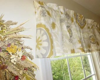 Made to Order Window Curtains, Beige Window Valance - Beige Window Curtains  - Beige Valances - Suzani Beige and Grey Window Valance 52 x 16
