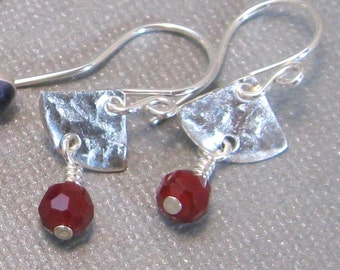 Red chalcedony and sterling silver drop earrings