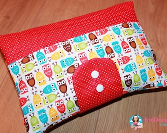 Nappy Wallet (color owls, red)