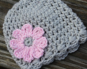 Baby girl, Baby hat, Crochet baby hat, Newborn crochet hats, twin girls hat, crochet photo prop hat, preemie girl hat, gray baby hat