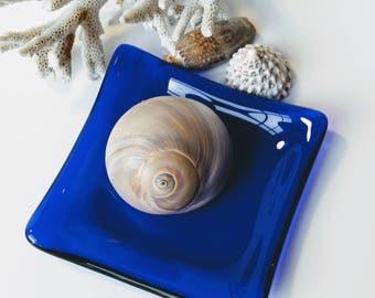 Cobalt Blue Fused Glass Dish - Trinket Dish - Jewelry Dish - Spoon Rest