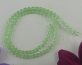 "4mm peridot crystal glass bicone beads 13"" strand gemstone 8329"