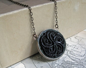 Black Glass Medallion Necklace Stained Glass Jewelry