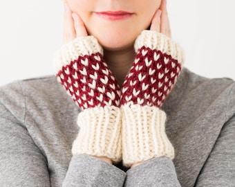 READY TO SHIP - Knitted Fingerless Mittens, Hand Knit Fingerless Wrist Warmers, Winter Accessory, Fingerless Knitted Wool Fair Isle Gloves
