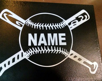 Baseball vinyl decal with your name